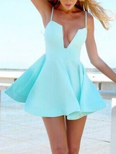 Skater Dress in Light Blue If it wasn't such a deep plunge it would have look better... just saying
