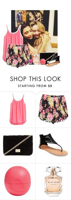 """""""chilling with sabrina carpenter, and rowan blanchard."""" by blazingburns ❤ liked on Polyvore featuring H&M, Boohoo, Forever 21, Wet Seal, Eos, Elie Saab and OPI"""