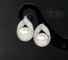 Bridal Earrings Cubic Zirconia Pearl by SeraphineCreations on Etsy Teardrop Pearl Earrings, Pearl Earrings Wedding, Pearl Studs, Bridal Earrings, Wedding Jewelry, Palladium, Bridesmaid Jewelry, Bridesmaid Gifts, Small Earrings