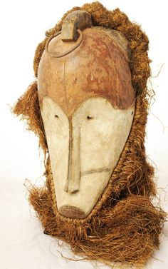 Africa | Mask from the Fang people of Gabon | Wood, metal and fiber