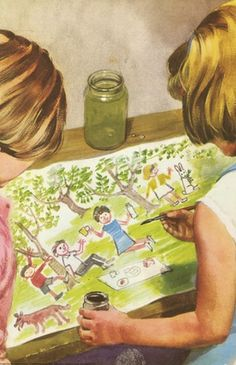 Jane paints a picnic in a garden - Peter And Jane, Fun And Games