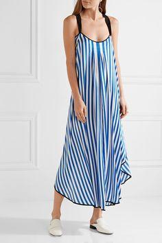 By Malene Birger - Shalana Asymmetric Striped Satin Maxi Dress - Blue - DK34