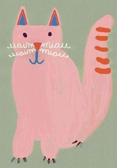 Brazilian illustrator Jana Glatt & & n o m a t o p e i a& are simple, fun illustrations of animal language. It always intrigu. Illustrator, Fun Illustration, Art Plastique, Cat Art, Kitsch, Illustrations Posters, Art For Kids, Art Drawings, Character Design