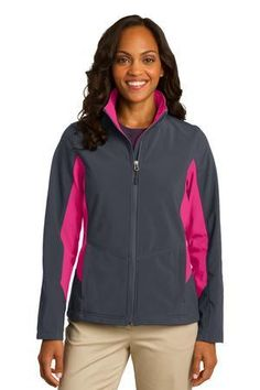 Port Authority® - Ladies Core Colorblock Soft Shell Jacket. Pair warmth with style—for a great price. Athletic-inspired colorblocking on the sides and sleeves give this soft shell up-to-date appeal, while a polyester microfleece interior keeps you comfortable. -Arizona Cap Company-(480) 661-0540 Custom Printed & Embroidered.Visit our site for colors available and the price
