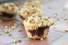 Flavorful and fun Peanut Butter and Jelly Muffins. A great way to start the day with PB&J!