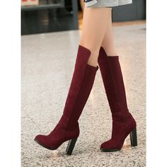 Wine Red Stretch Back Pull-on Heeled Over the Knee Boots ($115) ❤ liked on Polyvore featuring shoes, boots, thigh high leather boots, red thigh high boots, leather thigh boots, thigh-high boots and pull on boots