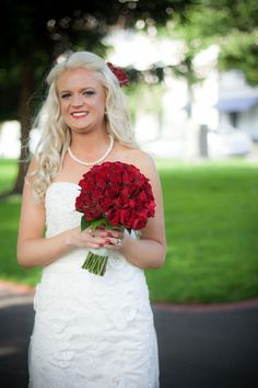 Red rose bridal bouquet.