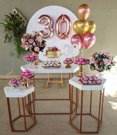 Birthday Room Decorations, Birthday Backdrop, Balloon Decorations, Table Decorations, Diy Tassel Garland, Dessert Table Decor, 18th Birthday Party, Its My Bday, Rose Gold