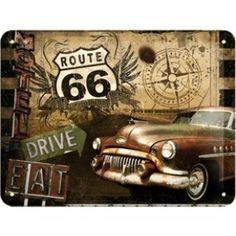 Nostalgisches Route 66 Blechschild