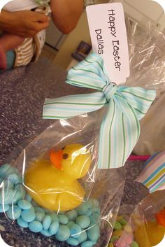 "I know it says Happy Easter but I really think these would be cute ""Goody Bags"""