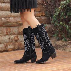 Akranes Süet Siyah Diz Altı Western Topuklu Çizme  #suede #black #longboots #heels #boots #western #white #süet #siyah #topuklu #çizme #kovboy Western Boots, Booty, Ankle, Shoes, Fashion, Moda, Swag, Zapatos, Wall Plug
