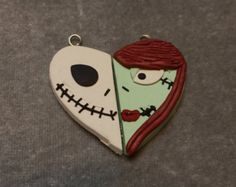 JACK and SALLY Nightmare Before Christmas Tribute Best Friends Heart Pendant.  Kawaii Besties Necklace Book Mark Key Ring Polymer Clay