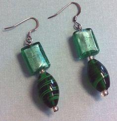Dichroic Glass Bead Dangle Earrings Emerald by HeartsDesireGifts, $4.95