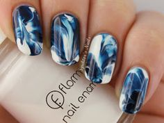 Blue & white water marble nails. Love this!