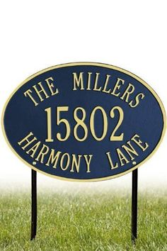 Hawthorne Three-Line Standard Lawn Address Plaque - standard/3 line, Navy Blue by Home Decorators Collection. $88.00. Hawthorne Three-Line Standard Lawn Address Plaque - This Premium, Textured And Dimensional Lawn Address Plaque Is Designed With Large Letters And Numbers For Maximum Visibility Outdoors. The Standard Hawthorne Design Features A Sophisticated Oval Shape.Our Outdoor House Marker Is Built To Withstand The Elements. It Is Individually Handcrafted Of Hand-Cast Aluminu...
