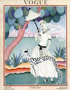 Vogue US Cover - January 1922 - Motor and Southern Number - Illustration by Helen Dryden (American, 1887-1981) - Condé Nast Publications