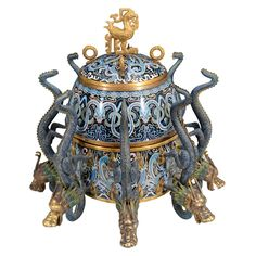 Antique Chinese Cloisonne Censer w/ Eight Dragon Handles