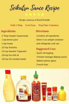 Seikatsu sauce goes great on sushi rolls, chicken karaage and more. Japanese Recipes, Japanese Food, Asian Recipes, Dipping Sauces For Chicken, Sauce For Chicken, Sauce Recipes, Chicken Recipes, Cooking Recipes, Chicken Sushi