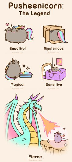 Pusheenicorn: the legend, text, Pusheen; Pusheen and like OMG! get some yourself some pawtastic adorable cat apparel! Gato Pusheen, Pusheen Love, Pusheen Unicorn, Pusheen Stuff, Cartoon Unicorn, Funny Cats, Funny Animals, Cute Animals, Cats Humor