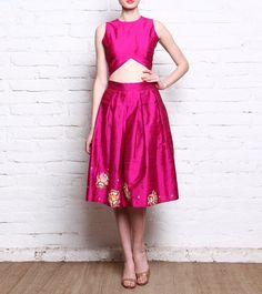 Saachi Thahryamal - Pink Embroidered & Embellished Raw Silk Skirt & Crop Top Set Click on the photo to shop! :)