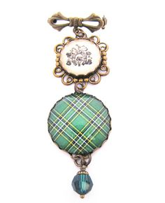 Ancient Romance Series - Scottish and Irish Tartans Collection - Irish National Sweet Bow Brooch with Clover and Horse Shoe Charm and Emerald Swarovski Crystal Bead | by Lynda Moseley Diva Designs Inc