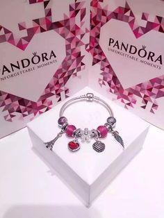 50% OFF!!! $239 Pandora Charm Bracelet Pink Red. Hot Sale!!! SKU: CB01565 - PANDORA Bracelet Ideas