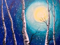 (The video doesn't actually *start* until 20 min in) beginner acrylic painting class. acrylic painting for beginners easy birch trees art Painting Tutorial, Night Painting, Birch Tree Art, Beginner Painting, Abstract Painting, Art, The Art Sherpa, Simple Acrylic Paintings, Winter Art