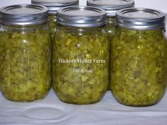 Hickery Holler Farm: Dill Relish made this one and it was good. Had to add more sugar Home Canning Recipes, Canning Tips, Cooking Recipes, Bath Recipes, Cucumber Relish Recipes, Cubes, Dill Pickle Relish, Dill Relish Canning Recipe, Pickles Recipe