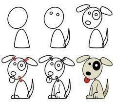 a dog cartoon dog drawing, Doodle Art, Doodle Drawings, Cartoon Drawings, Animal Drawings, Easy Drawings, Dog Drawings, Drawing Lessons, Drawing Techniques, Art Lessons