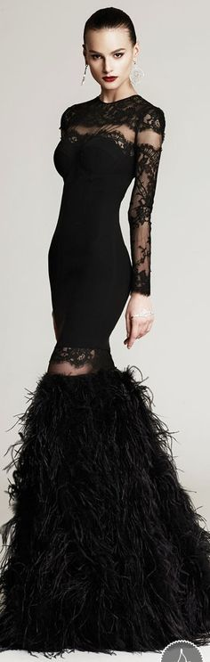 Modern Gatsby-Black Gown with feathered lower skirt. Great for 20's.Era Prom. I would love to pull the feathers up into a full shirt.