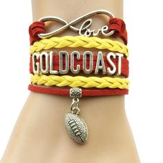 Infinity Love Gold Coast Suns Football Bracelet BOGO Football Bracelet, Australian Football, Infinity Love, Gold Coast, Collars, Football Stuff, Bracelets, Collection, Jewelry