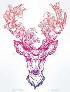 Deer Head With Flowers In Line Art Style.,animal, antler, art, background, boho, concept, decoration, deer, design, drawing, element, ethnic, forest, graphic, hand, head, horned, icon, illustration, isolated, native, nature, outline, print, reindeer, sign, spiritual, spirituality, stag, symbol