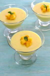 Easy to make, creamy, luscious and vegetarian mango pudding recipe is made with agar agar.