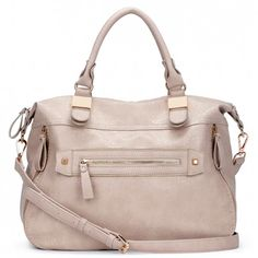 Women's Taupe Faux Leather Convertible Side Zip Tote | Amelia by Sole Society