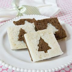 Christmas Tree Sandwiches (Recipe) - Easy-to-make, Boursin-cheese tea sandwiches on white & pumpernickel breads are ideal for the holidays / Tea Time