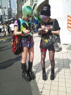 japan tokyo street fashion style galaxy shorts mickey mouse crop top tie dye colourful rainbow goth grunge platforms flatforms beanie green purple hair