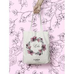 W59Y Tote bag weeding, couronne de fleurs, sac personnalisable, custom bag, sac en coton, sac en toile, shopping bag, gift for Bridesmaid