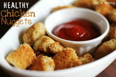 HEALTHY Baked Chicken Nuggets!  Would be perfect for picky kids or as a healthy option to serve at your Super Bowl Party!