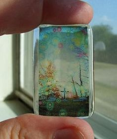 Resin pendant using transparencies - I have GOT to do this!! would make a great stained glass window!