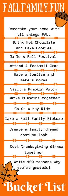 The Fall Family Fun Bucket List is a list of fall families activities encouraging families to build stronger relationships, find gratitude and remember the real meaning of the holiday season. Use this fall family bucket list to create the memories of a lifetime!