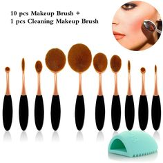 Travelmall 10PC/Set Soft Toothbrush Oval Makeup Brush Sets Foundation Powder Blusher Eyebrow Eyeliner Lip Toothbrush Curve Cosmetic Brushes   1pcs Cleaning Brush Washing Egg (gold) ** Find out more about the great product at the image link. (Note:Amazon affiliate link)