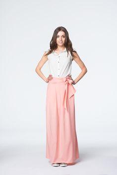 Łososiowa spódnica maxi z kokardą Skirts, Summer, Collection, Style, Fashion, Swag, Moda, Summer Time, Skirt