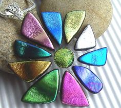 Dichroic Pendant - Fused Glass Jewelry - Multicolored Pendant - Glass Necklace - Glass Jewelry