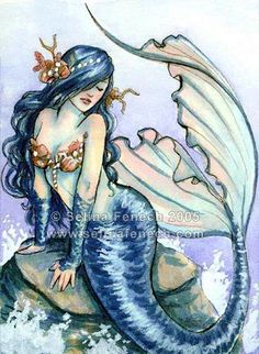 Beautiful and blue mermaid, almost Pre-Raphaelite. See watermark for attribution.