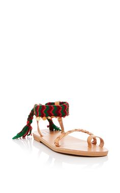 Athina Wide With Coins Leather & Cotton Sandal by ELINA LEBESSI for Preorder on Moda Operandi