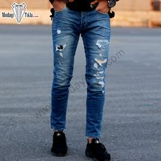 Erkek Kot Pantolon Mavi İşlemeli