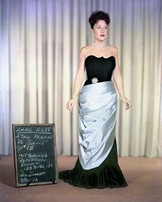 "Ethel Merman wardrobe test for ""Call Me Madam"" 1953 20TH Century Fox"