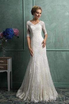 Modest Trumpet Queen Ann Lace Wedding Dress