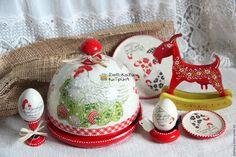"""Купить Поднос с крышкой для кулича и яиц """"Курочка"""" - ярко-красный, кантри стиль, курочка, курочки"""