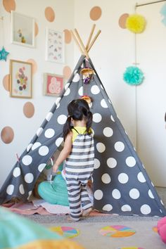 Polka-dot wall decals and a spotty teepee! Oh Joy for Nod / Ruby's Room